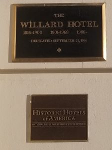 One of the several plaques on the walls of the Willard Intercontinental Hotel, in Washington, DC