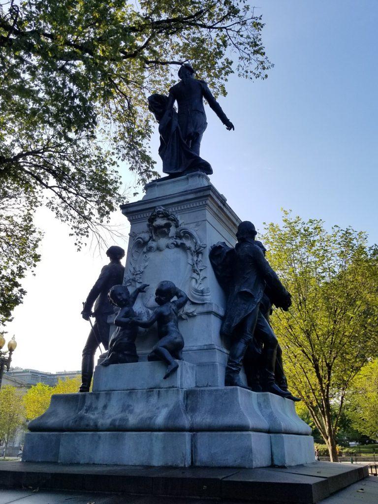 Lafayette statue with cherubs