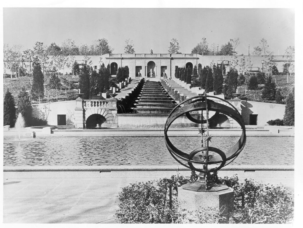 View of Meridian Hill Park, circa 1040, with the Noyes Armillary Sphere